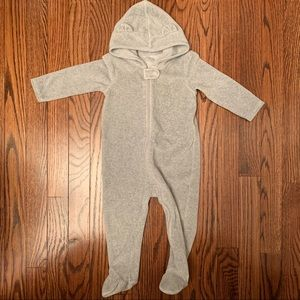 Nordstrom Baby velour bear hooded footie coverall